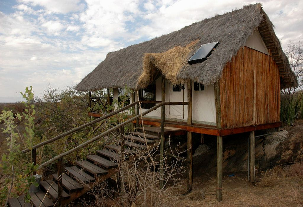 """The camp is located in the north-western area of Tarangire National Park and is built on top of a massive """"kopje"""" (granite rocks)"""