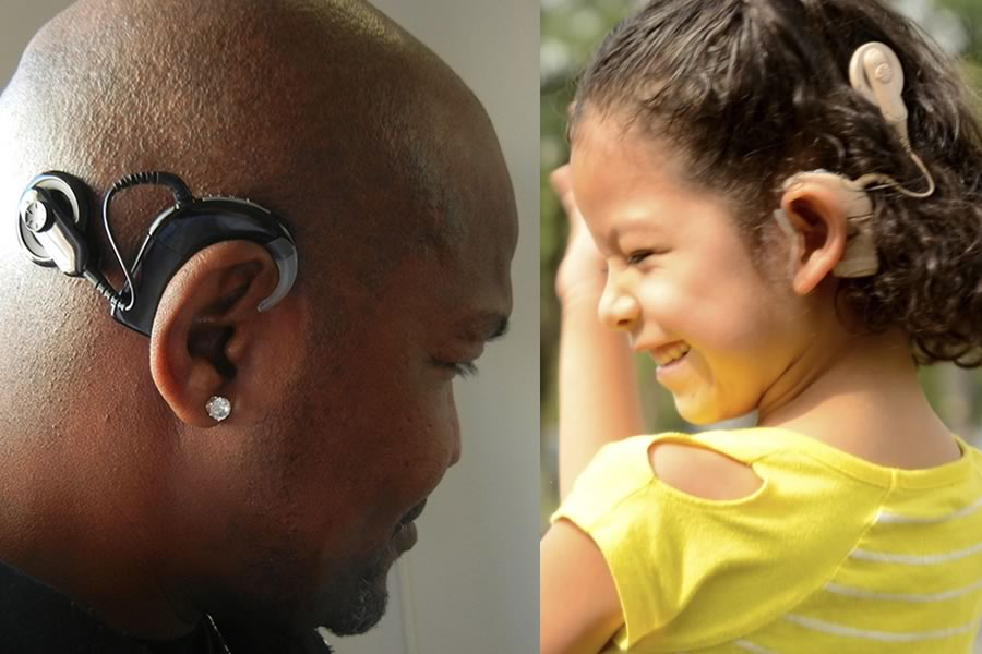 An adult and a pediatric patient showing off their cochlear implant technology.