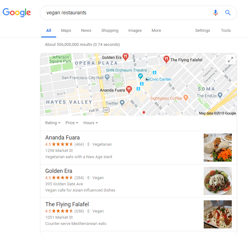 Vegan local search results