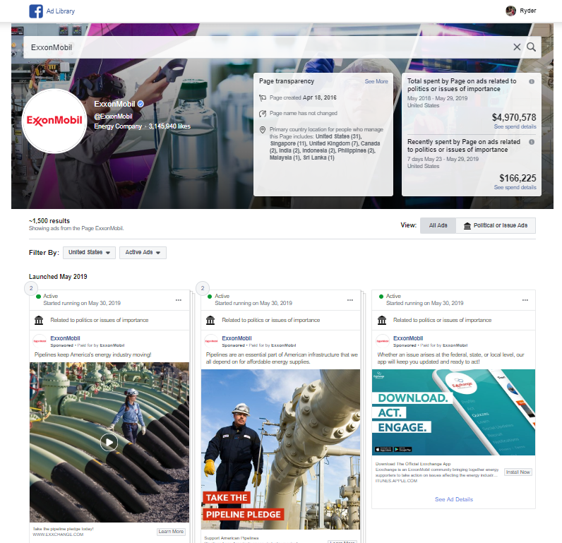 Facebook Ads for Brand Competitors - ExxonMobile Example