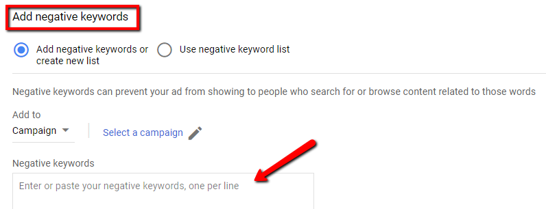 negative keyword list