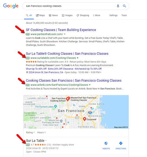 Google Ads - Cooking Classes San Francisco