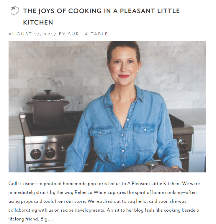 Cooking Class Content Marketing Example