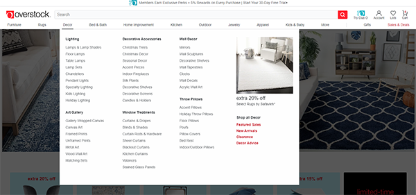 Overstock.com Example Site Search