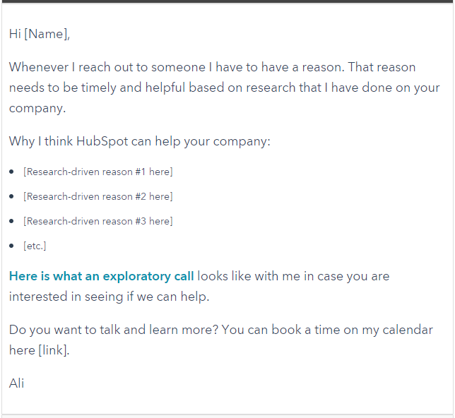 Hubspot Example - personalized email