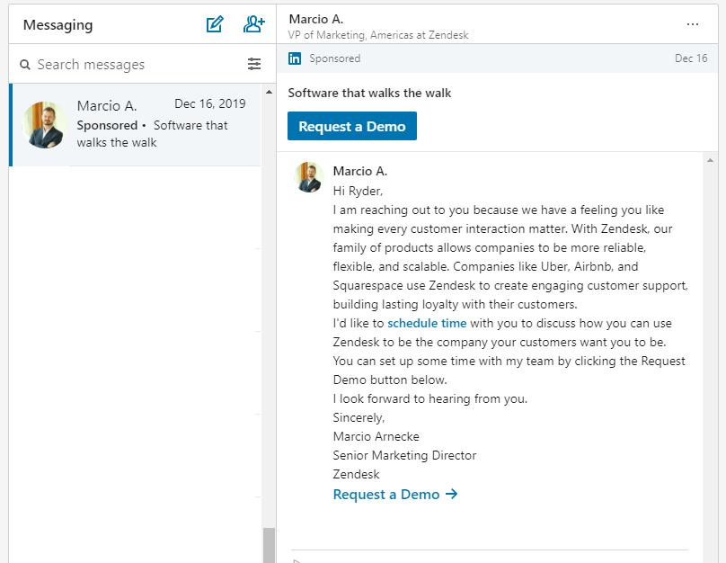 LinkedIn Message Ad Example