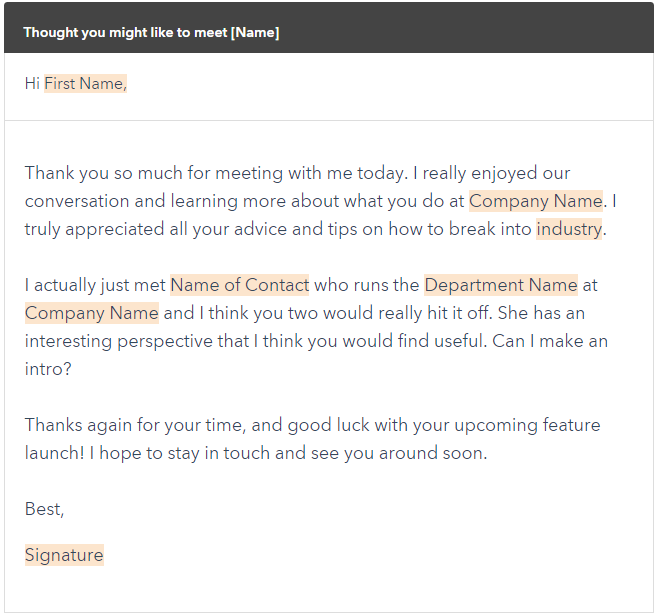 Example Meeting Followup Email Template