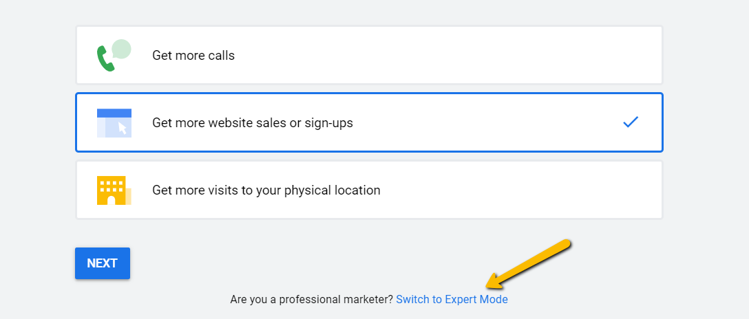 Example of goals on google ads