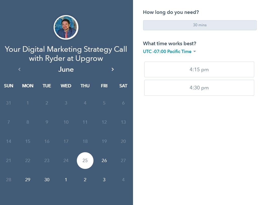 Example of a Calendar booking tools