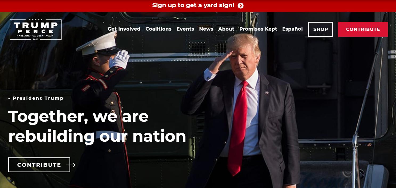 Trump 2020 Website Homepage