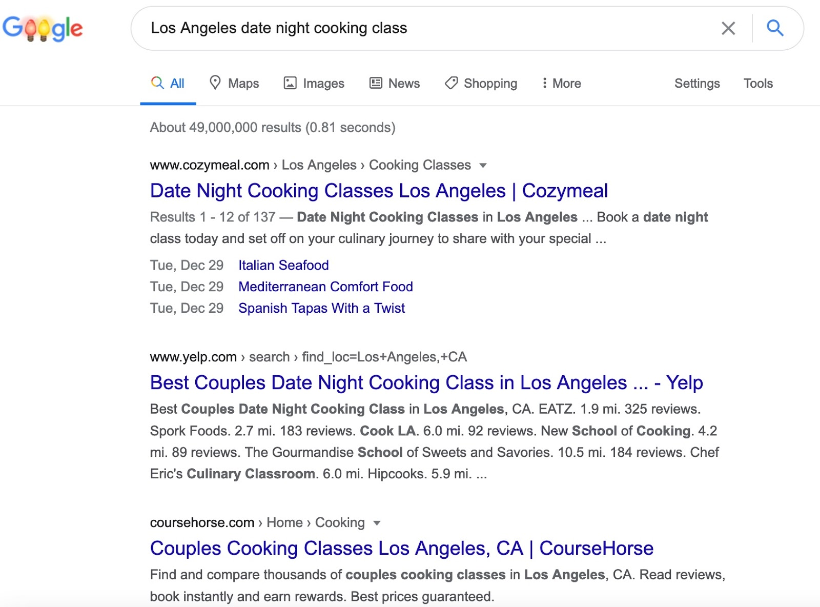 Los Angeles Cooking Class