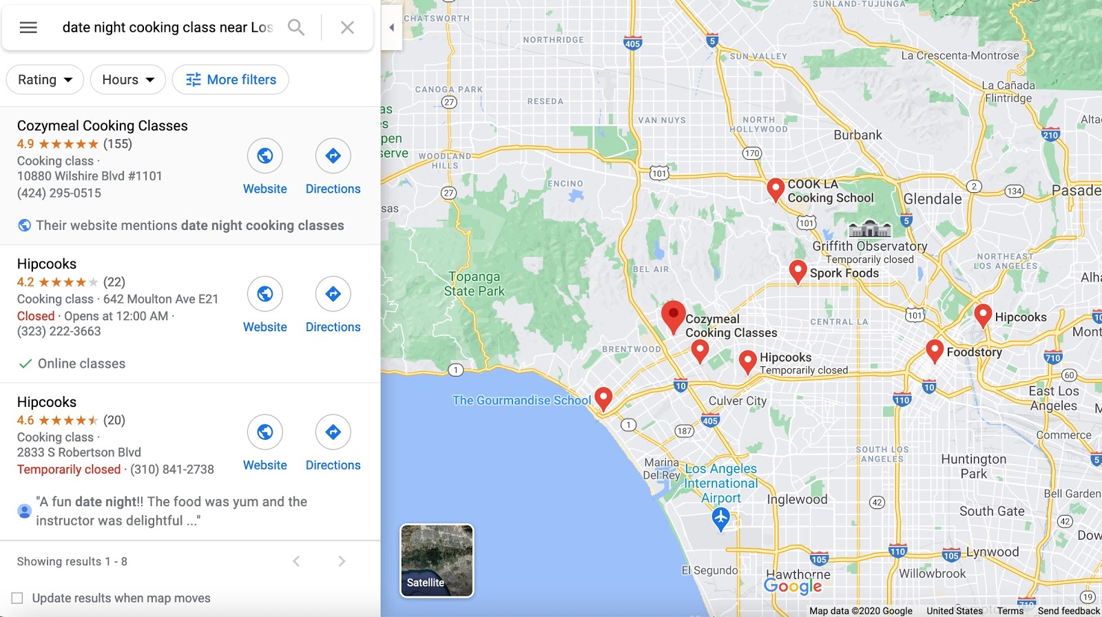 Google Map - Local Search for cooking classes