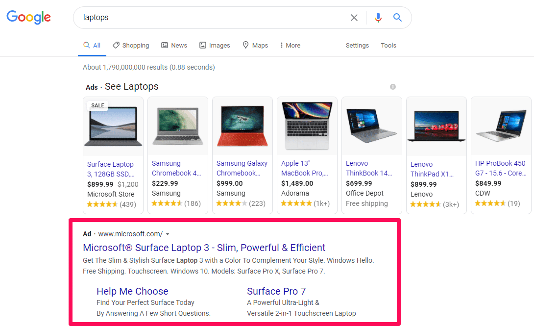 Results of Google's search results