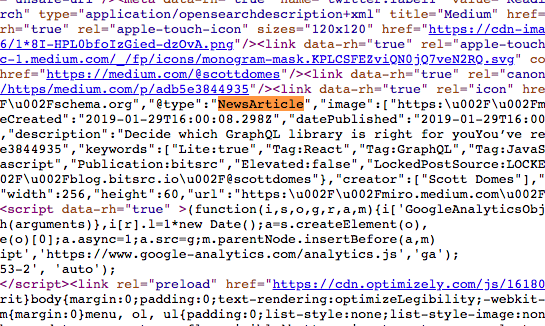 """medium.com's default shema.org structured data is @type:""""newsArticle"""", as shown in this screenshot"""