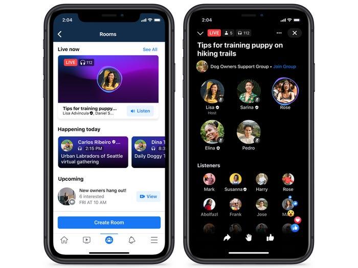 Facebook live audio rooms audio tool