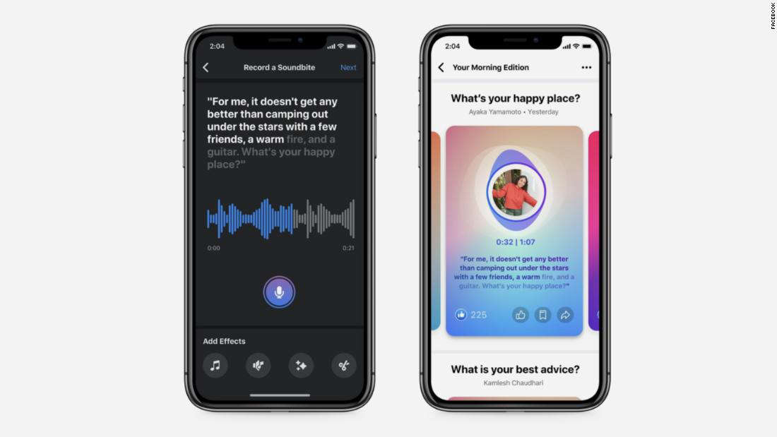 graphical user interface, application: Facebook's audio clips feature is called Soundbites
