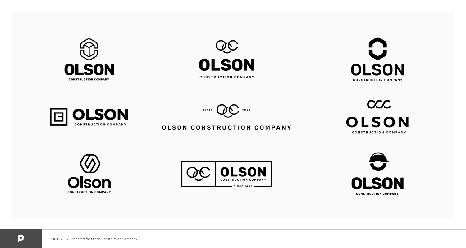 I presented Olson Construction Company with many initial logo options