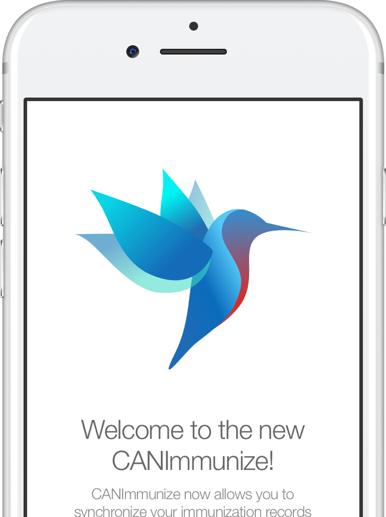 "white iphone showing the CANImmunize hummingbird saying ""Welcome to the new CANImmunize"""