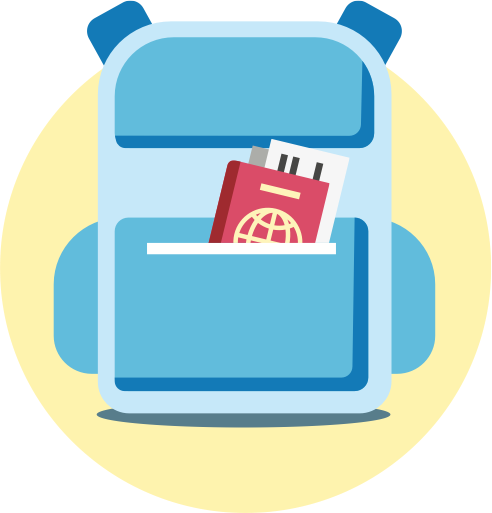 small icon depicting a backpack and passport