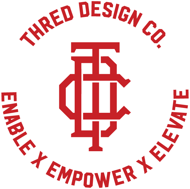 Thred Design Co. | Circular enable, empower, elevate logo, red