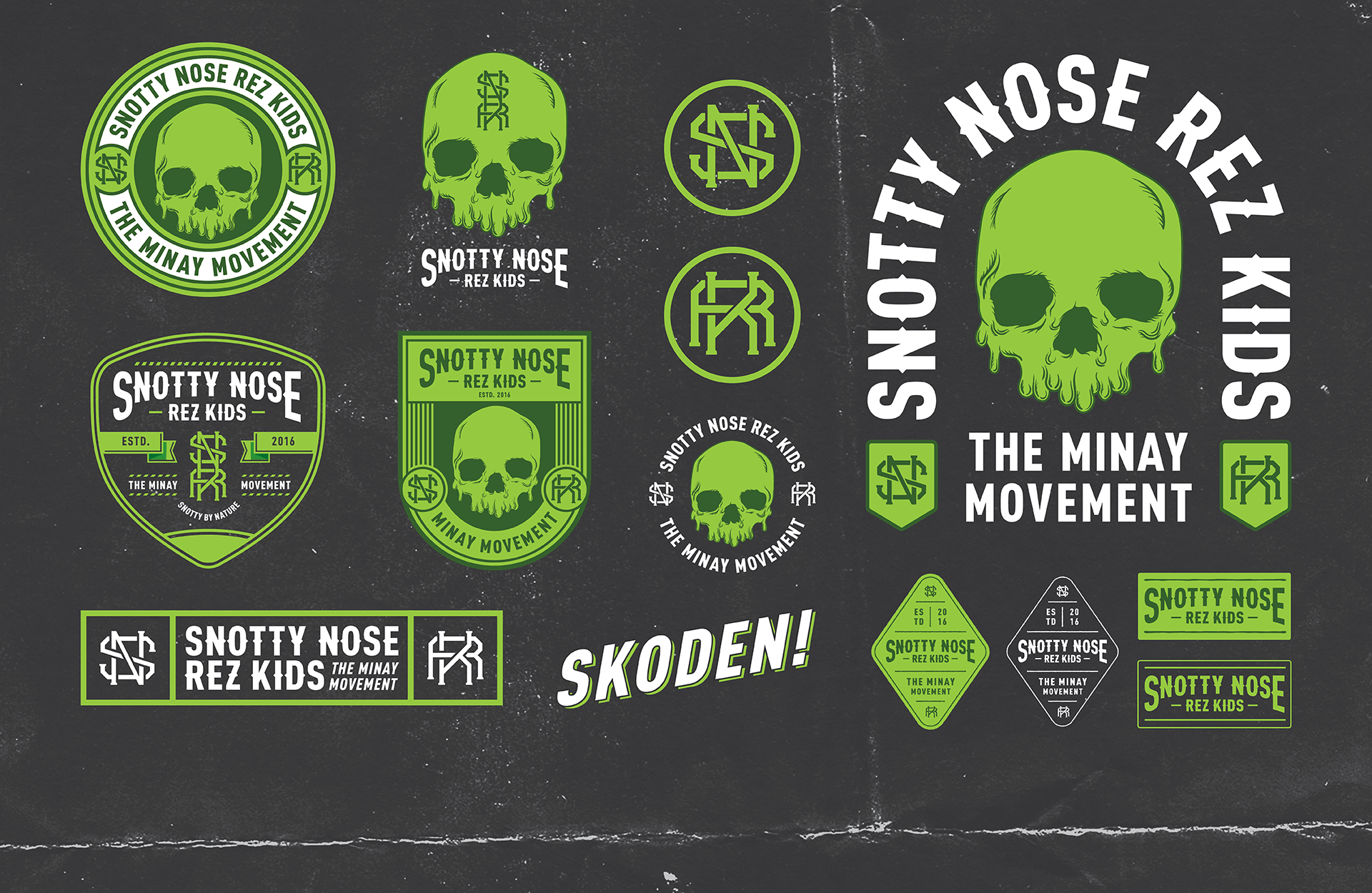 Snotty Nose Rez Kids | Logos, Badges, Branding Flash Sheet Design