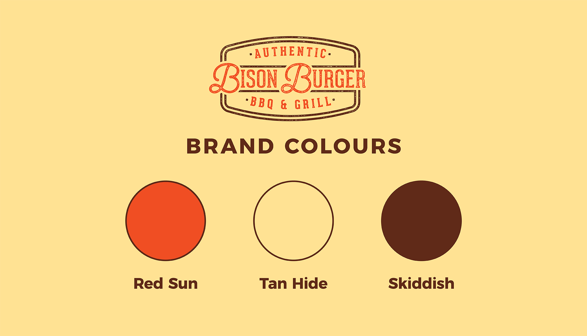 Bison Burger BBQ & Grill | Indigenous Restaurant and food truck brand colours, Red Sun, Tan Hide, and Skiddish