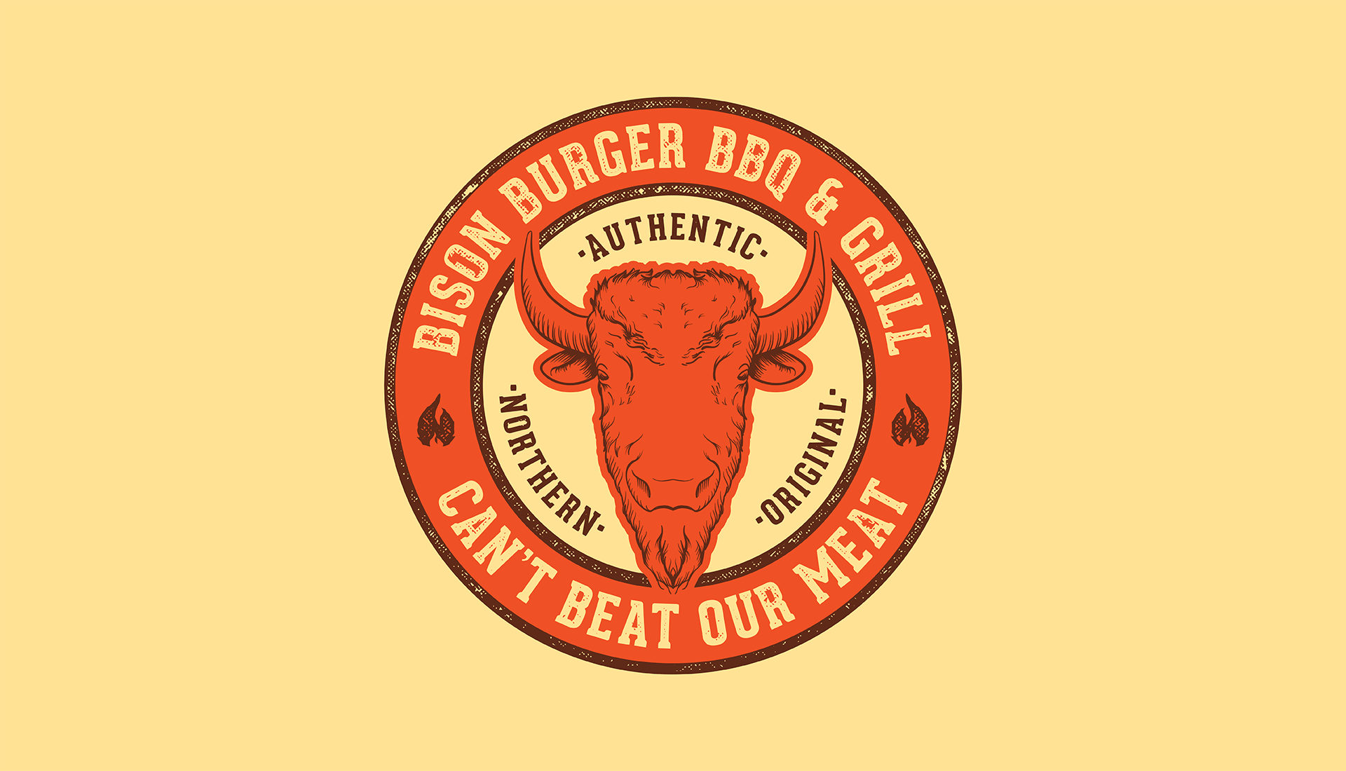 Bison Burger BBQ & Grill | Primary Badge, Authentic Northern Original, Can't Beat Our Meat