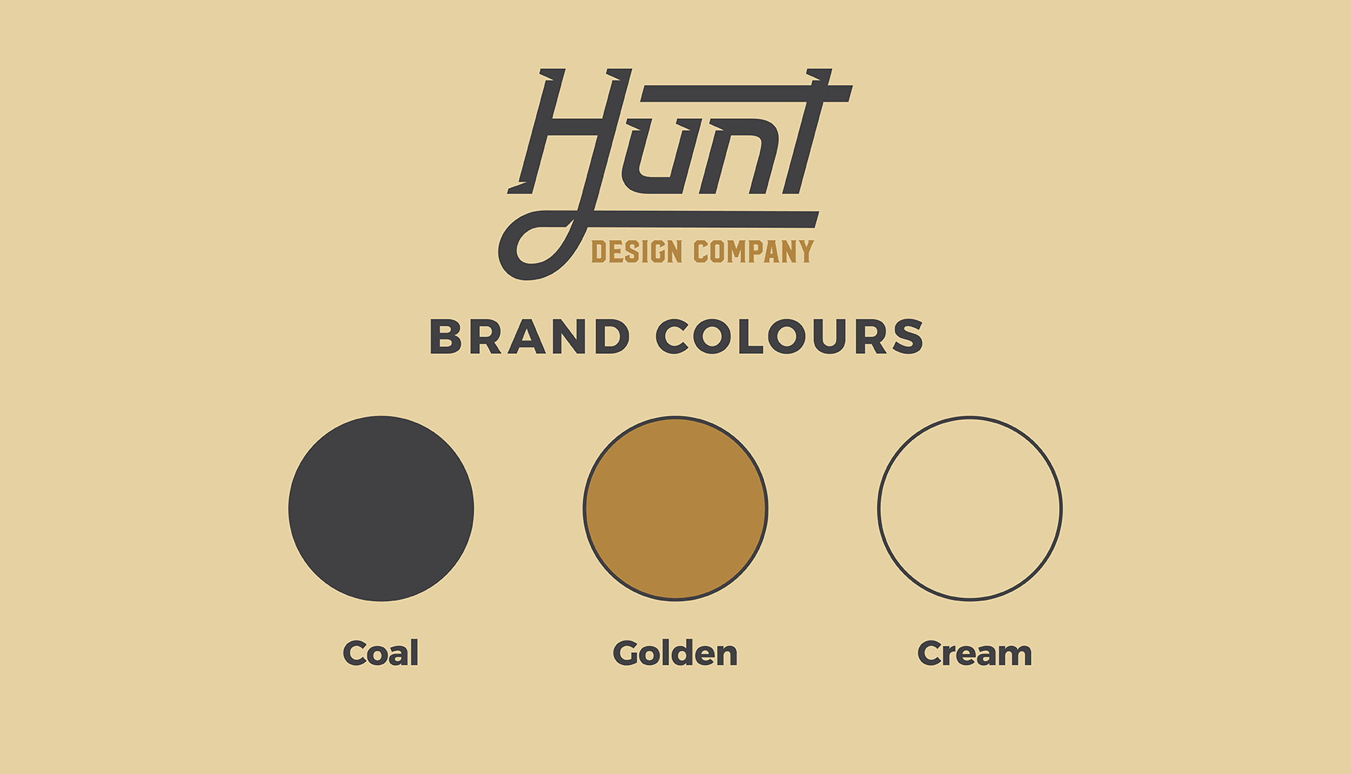Hunt Design Co.   Brand Identity Colours, Coal, Golden, Cream
