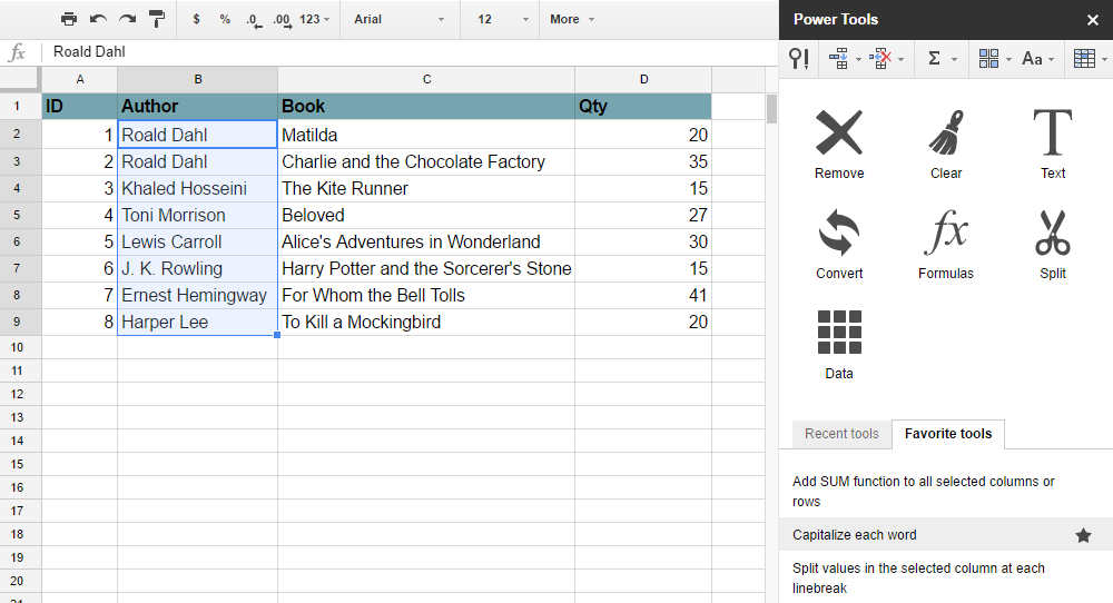 Power Tools Google Sheets Add-Ons