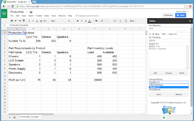 Solver for Google Sheets Add-on