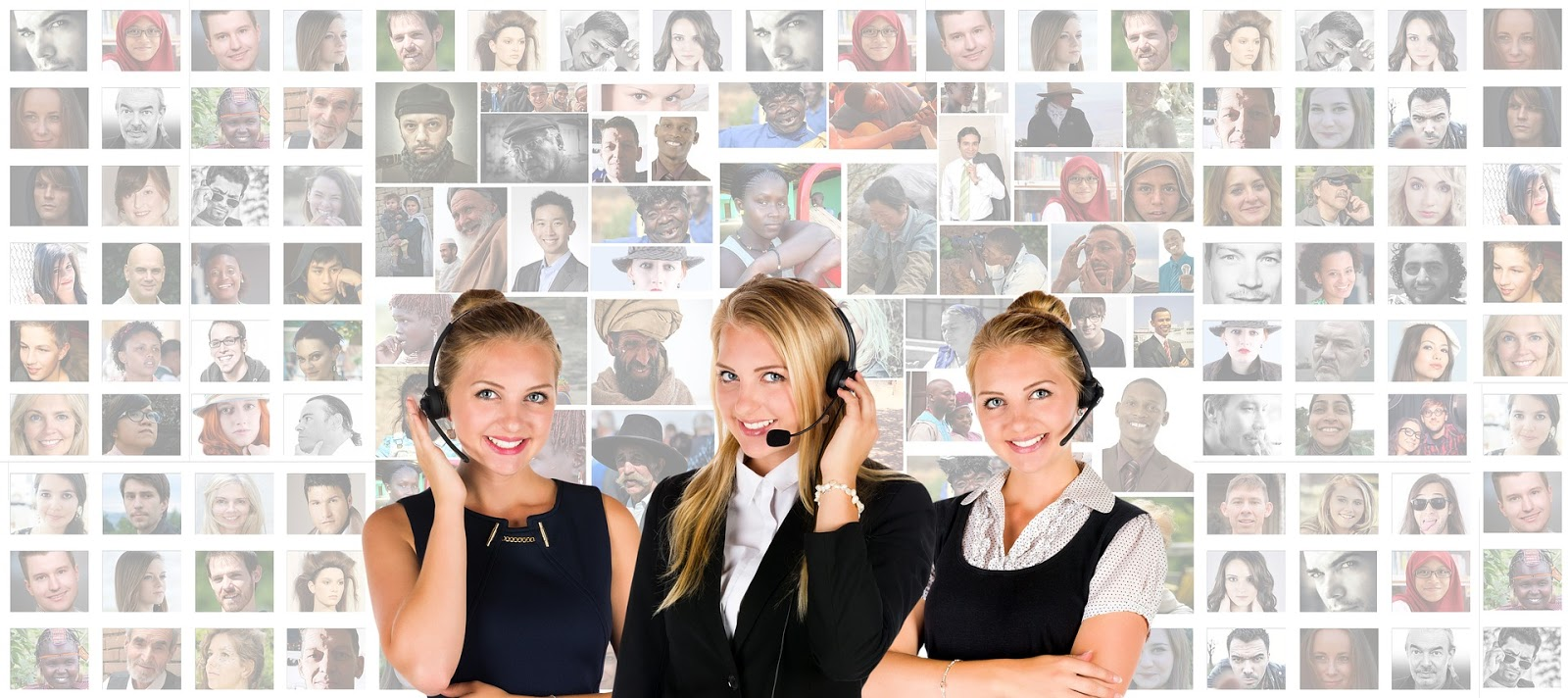 3 female customer service reps with headsets.