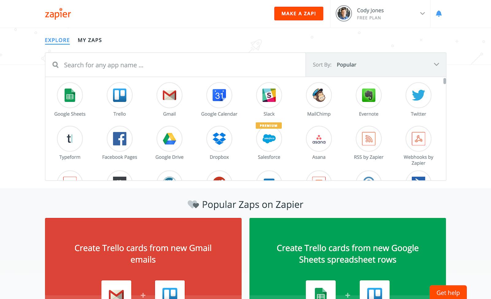 Zapier productivity app