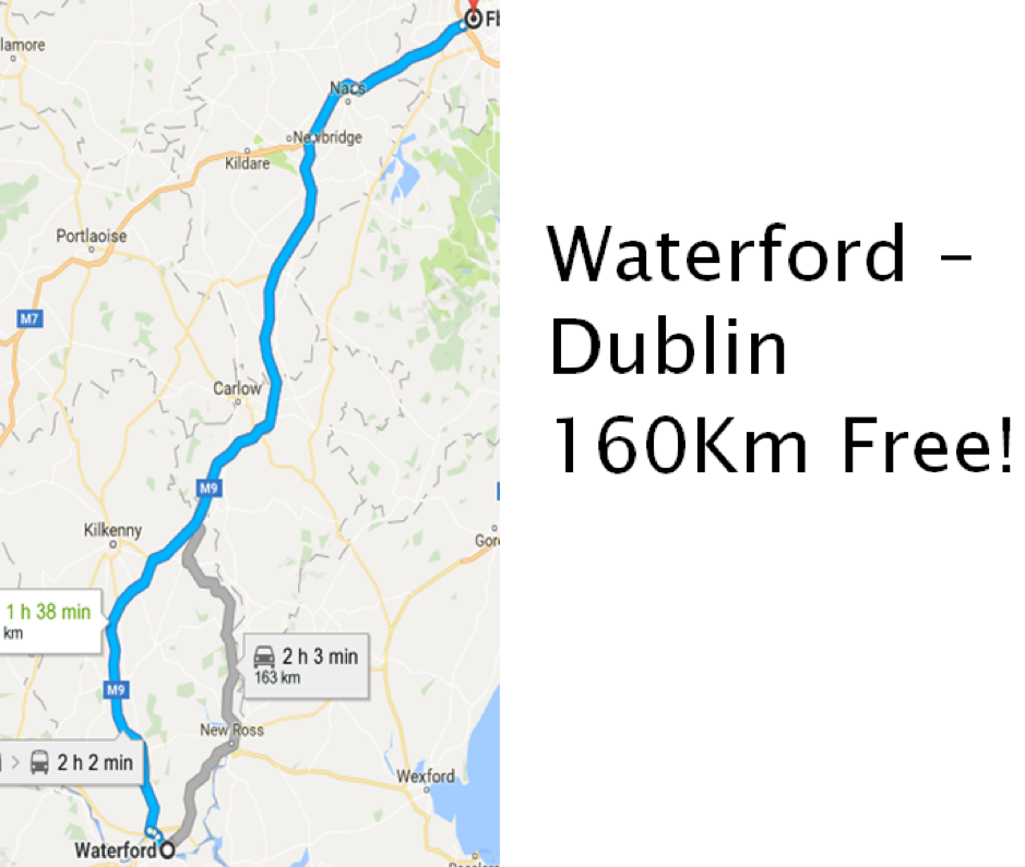 Waterford to Dublin Toll Free