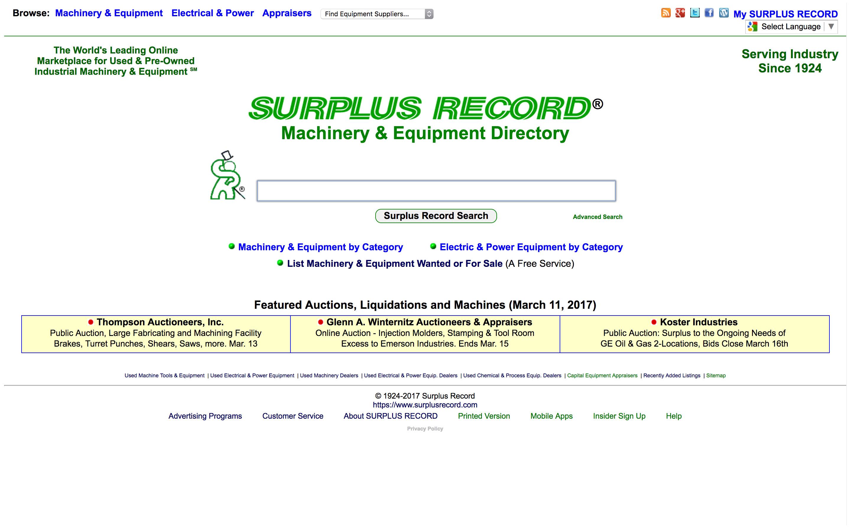 Surplus Record homepage