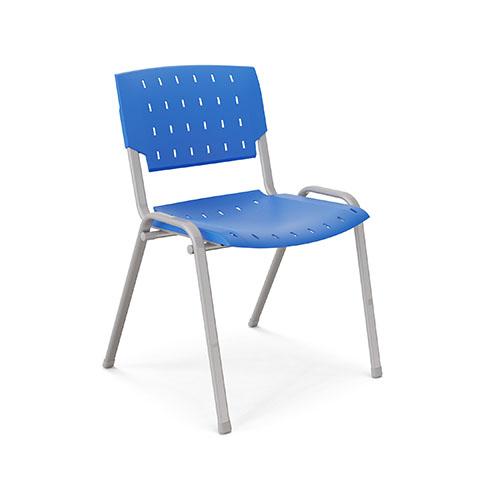 Cadeira fixa com estrutura metálica, empilhável, assento e encosto de polipropileno.