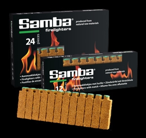 Samba wooden firelighter with match head packed in skillet