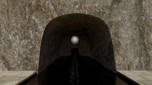 Floating spherical sculpture in a cave