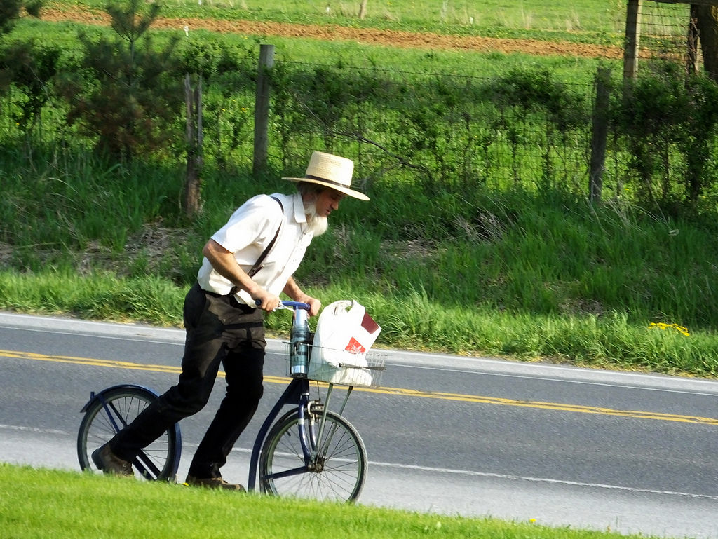an amish man rides a bicycle next to a street in amish country ohio