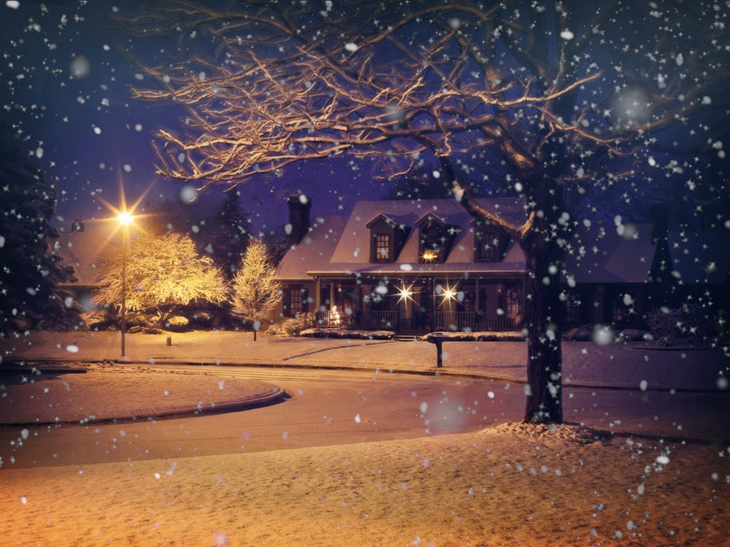 a home on a snowy evening