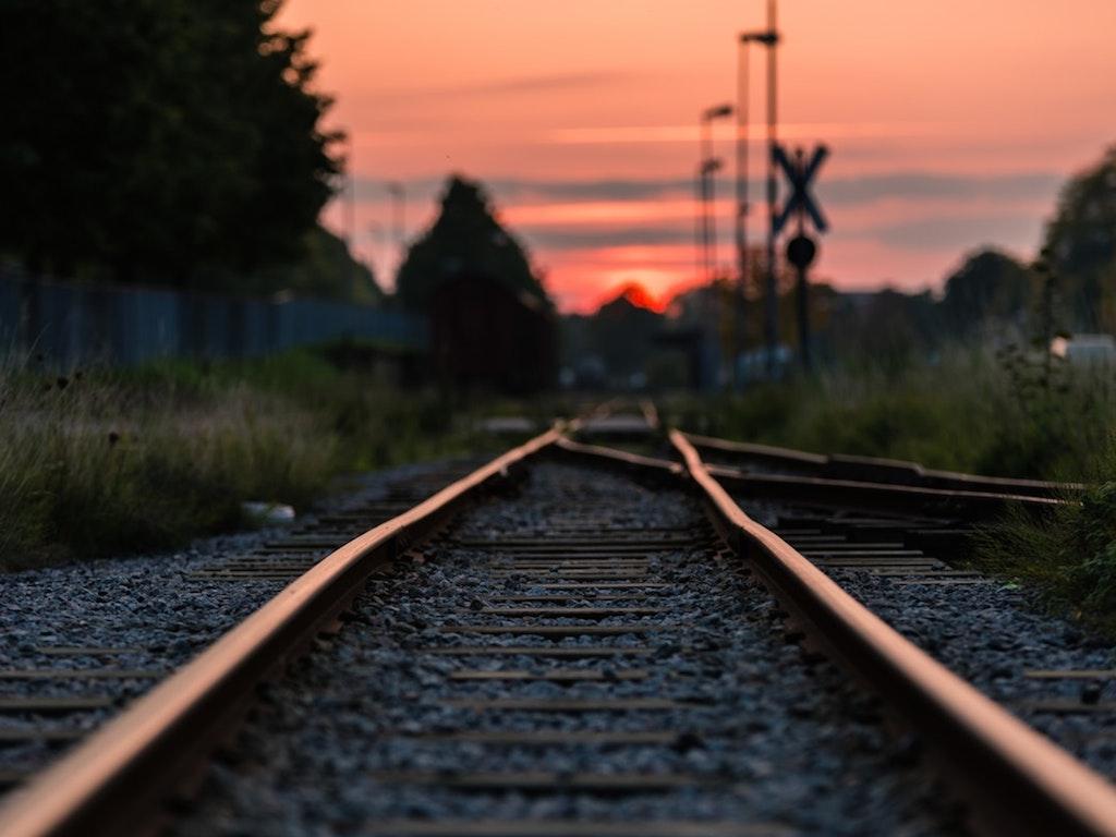 sunset over train tracks in xenia ohio