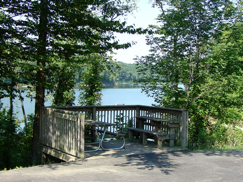 benches in front of a lake at paint creek state park
