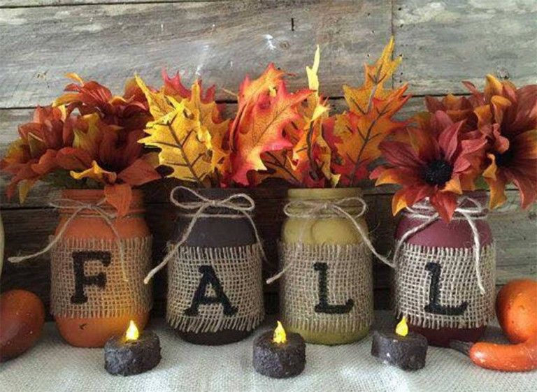 "mason jars that spell out ""fall"""