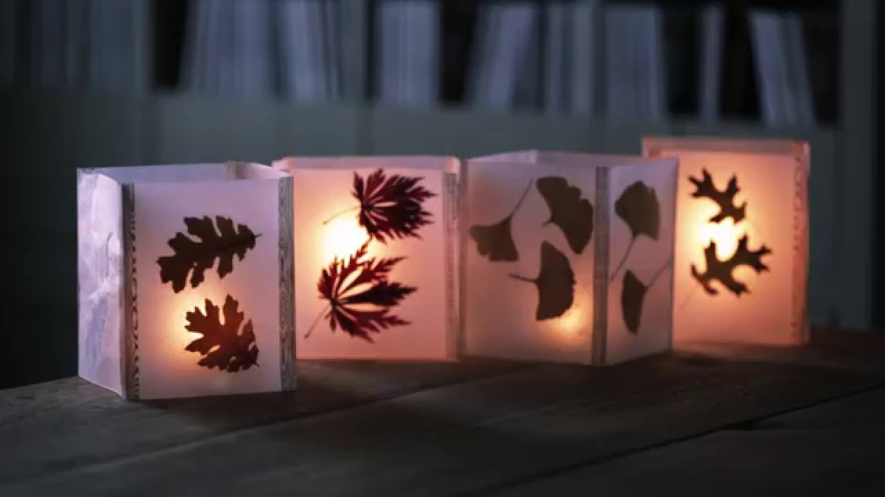 paper lanterns decorated with leaves