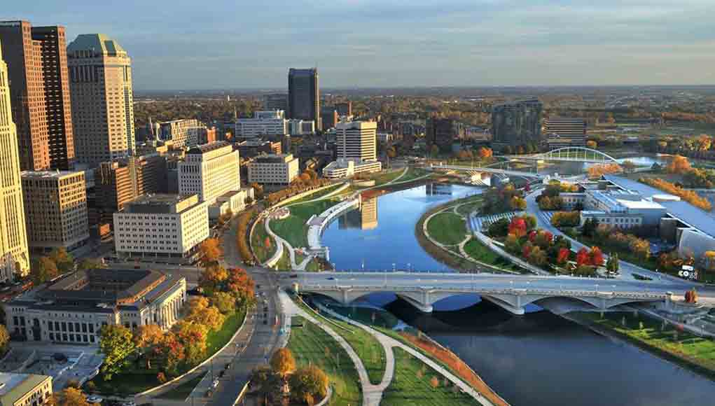bird's eye view of Columbus and the Scioto River