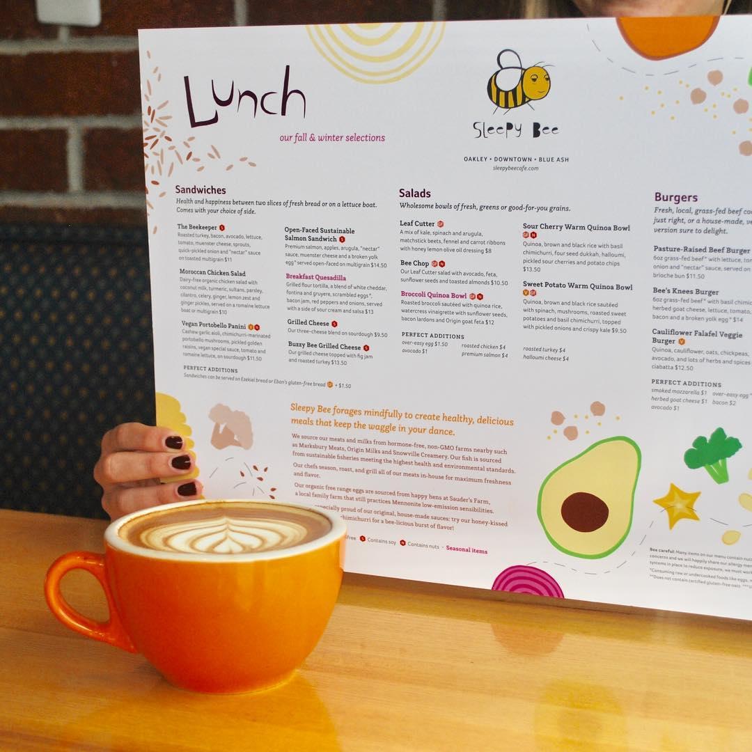 latte & menu at The Sleepy Bee cafe