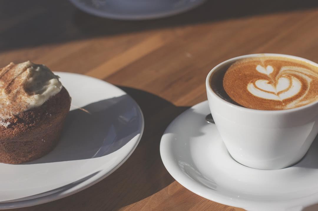 latte & pastry from Deeper Roots Coffee in Oakley