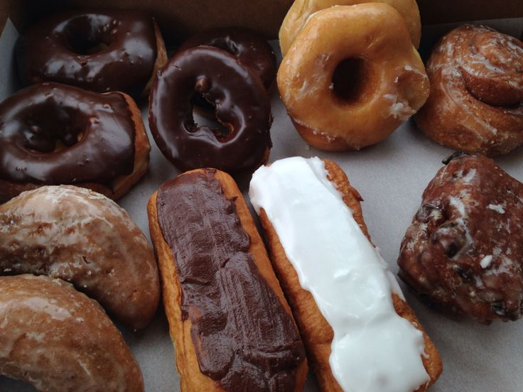 chocolate glazed donuts and pastries