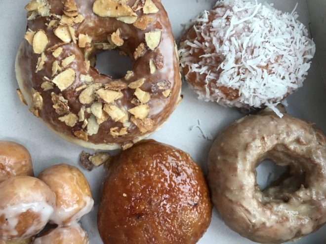 brown-butter hazelnut donut with other pastries