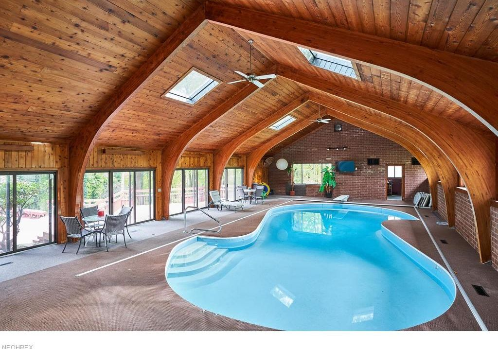 cathedral ceilings & indoor pool inside Westerville mansion