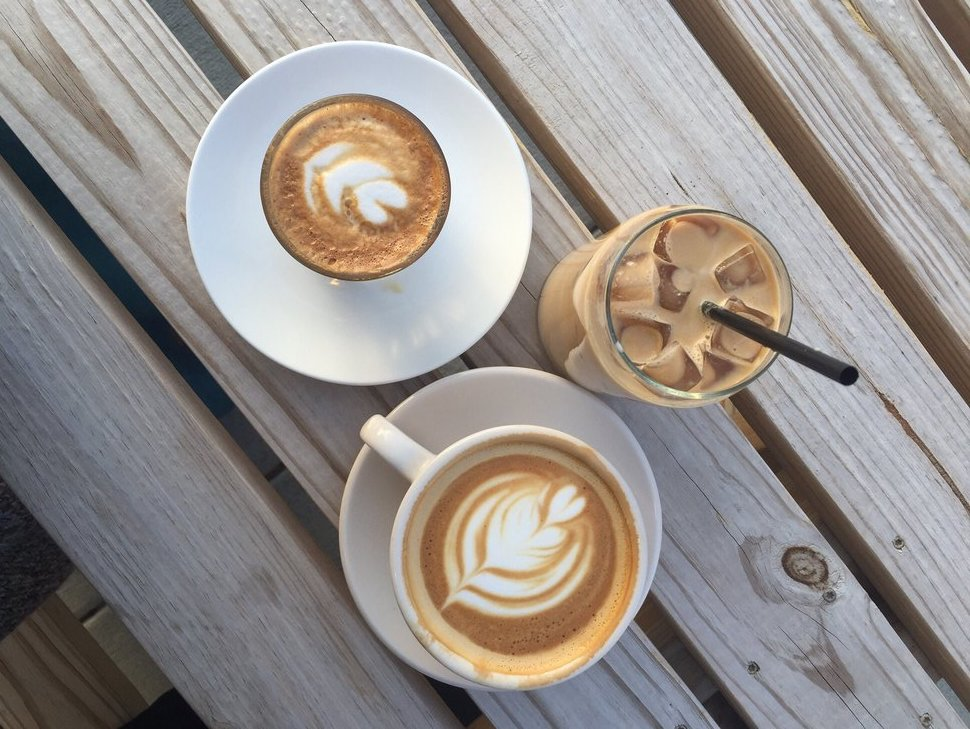 lattes from Brick Coffee Company in Norwood, Ohio